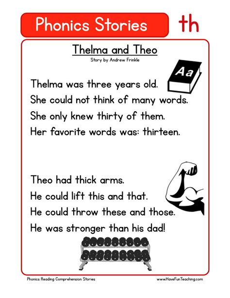 Phonics Reading Worksheets For Kindergarten by Reading Comprehension Worksheet Thelma And Theo