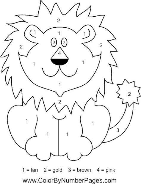 Lion Color By Number Coloring Pages | lion color by number pages
