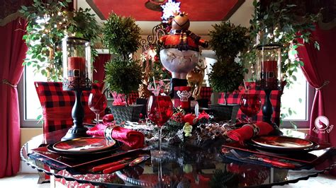 black and red christmas tablescapes stag tablescape with buffalo plaid and