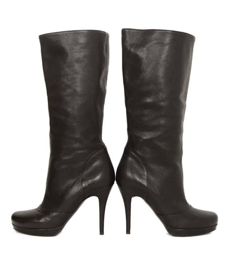 ysl boots yves laurent ysl black leather boots sz 37 for sale