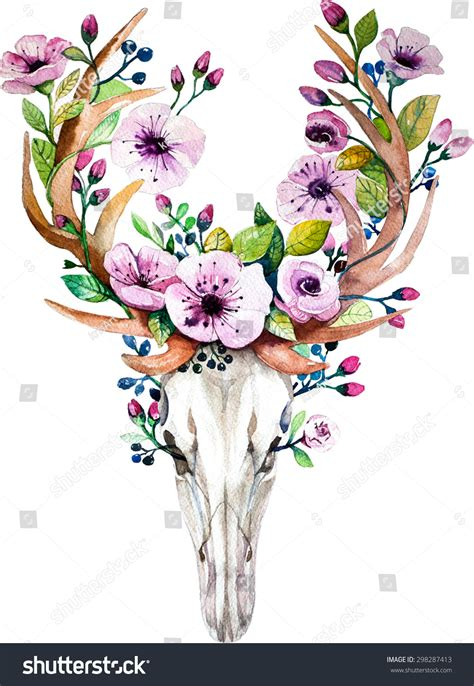 bright watercolor deer skull with flowers deers head with