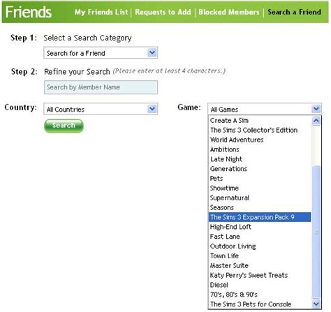 ep9 listed in the find friends section of thesims3
