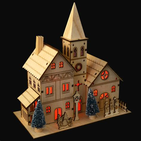 how to make wooden a christmas church wood light up church decoration ebay