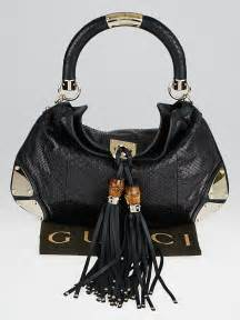 Gucci Gunmetal Indy Large Top Handle Bag by Gucci Black Python Medium Babouska Indy Top Handle Bag