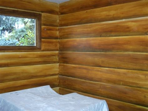 Faux Log Cabin Walls by Murallogcabin