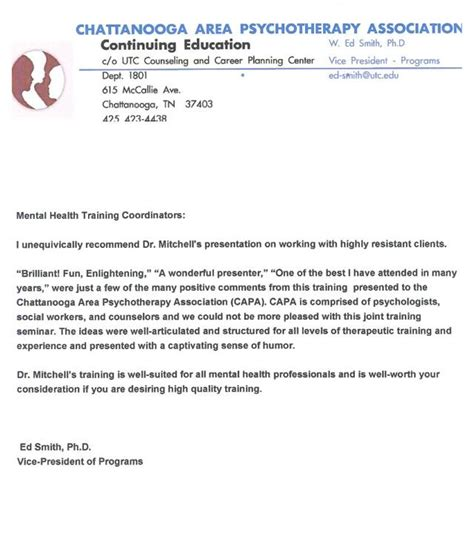 Endorsement Letter For Event Clifton Mitchell Seminars Trainings Workshops About Resistance In Psychotherapy Counseling