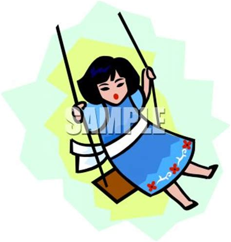 swing girl recess girl playing on a swing royalty free clipart picture