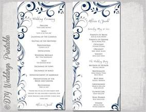 order of service template word wedding program template navy blue instant
