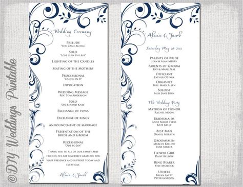 free order of service wedding template wedding program template navy blue instant
