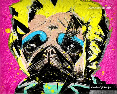 pug pop pug portrait wallpaper by ruudvaneijk on deviantart