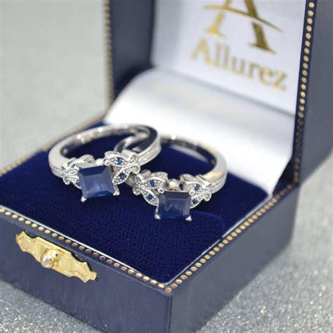 Blue Sapphire 6 55ct butterfly blue sapphire princess set 14k w gold