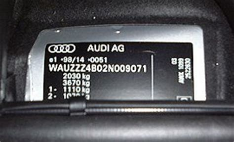 audi vin numbers audi a6 s6 rs6 vin location vehicle identification