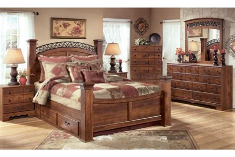 king size storage bedroom sets timberline king size poster bedroom set w underbed