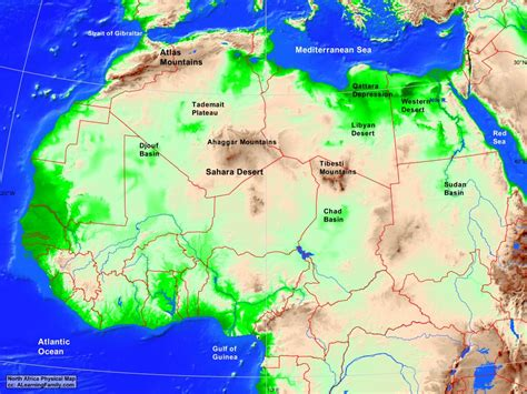 northern africa map africa africa physical map a learning family