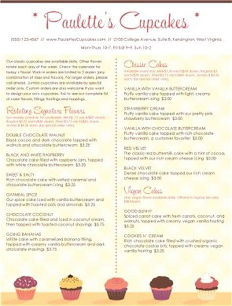 cupcake menu template customize cupcake menu