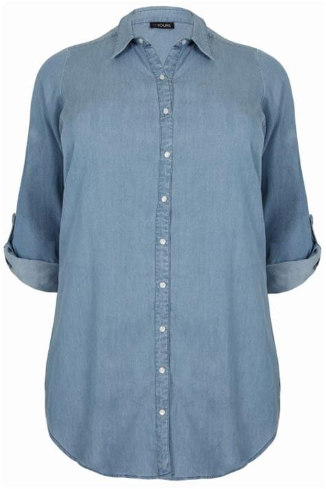 24811 Basic Front Brown Blouse Blouse C Kode Vc8763 blue chambray denim shirt plus size 16 to 36