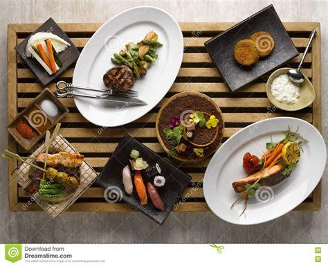 Mexza Set japanese dinner set mezza with sushi roasted beef snapper veg stock photo image 77415651