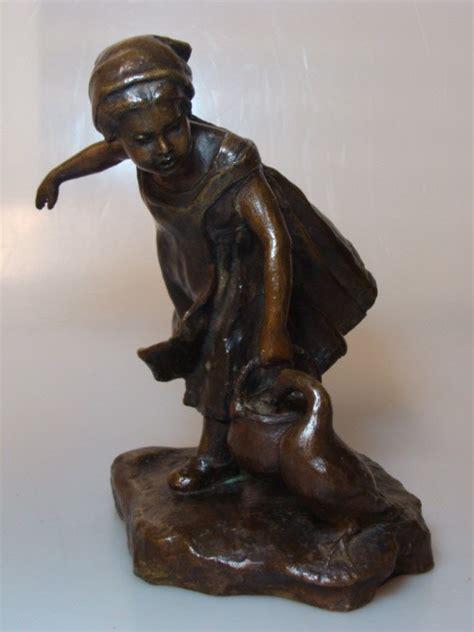 G Ferrari Bronze by Bronze M 196 Dchen Mit Gans G Ferrari Pelargus Um 1910 Ebay