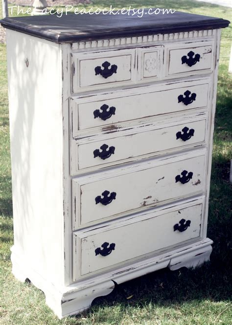White Black Dresser Distressed Black And White Dresser