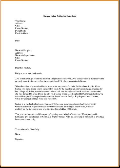 charity letter to business letter donation letter sle