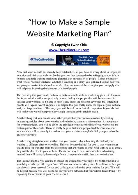 How To Make A Sle Website Marketing Plan How To Make A Marketing Plan Template