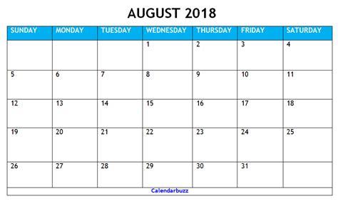 printable calendar 2018 microsoft office august 2018 calendar printable templates calendarbuzz