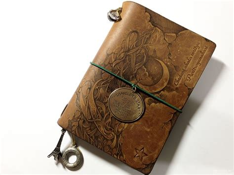 pyrography on leather notebook cover midori traveler s notebook customize 5th anniversary