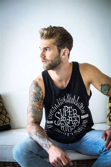 hot guy with tattoos fashion tattoos tats beard hair