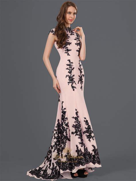 Dress Lace Pink Black pink high neck mermaid chiffon prom dress with black lace