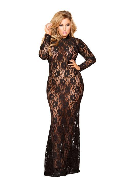 Lingerin Black black lace sleeve 1pc plus size intimate dress