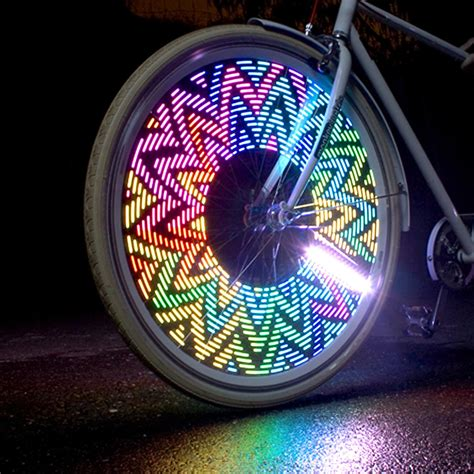 lights on wheels of a bicycle a and highly visible addition to traditional bike
