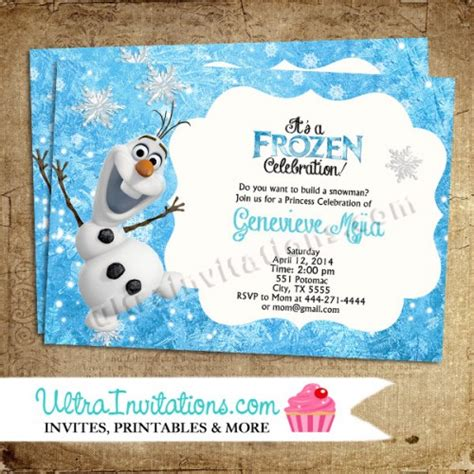printable olaf birthday card frozen invite template party invitations ideas