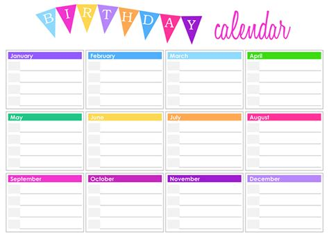 free printable birthday calendar template free birthday calendar templates printable templates free