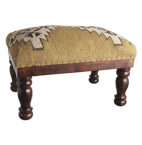 Kilim Stools by Dakota Lodge Rustic Woven Kilim Stool Ottoman Kathy Kuo Home