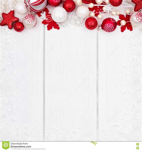 red and white christmas ornament top border over white