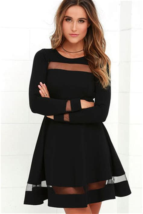 long sleeve lbd black dress mesh dress skater dress