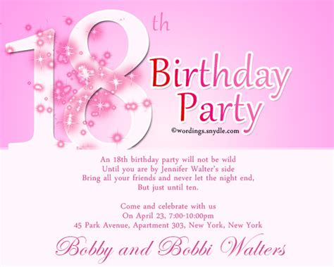 18th birthday party invitation wording wordings and messages