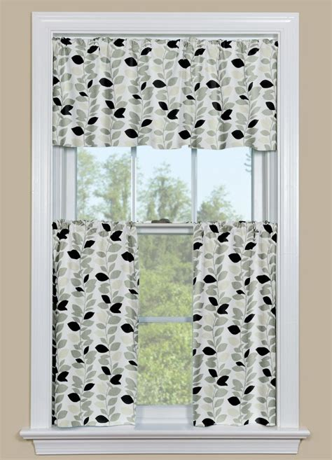 Black Kitchen Curtains And Valances Black And White Kitchen Valance Window Treatments Design Ideas