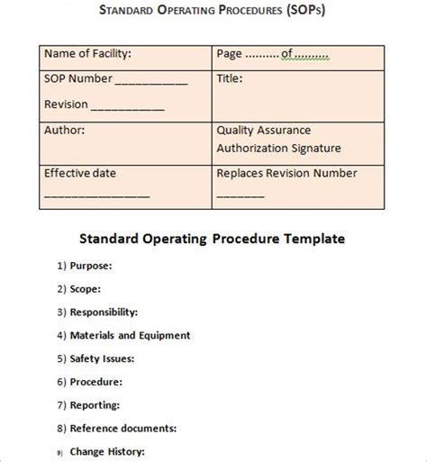 45 free standard operating procedure templates word