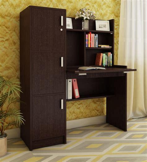 buy omura study table  cabinets  dark brown finish