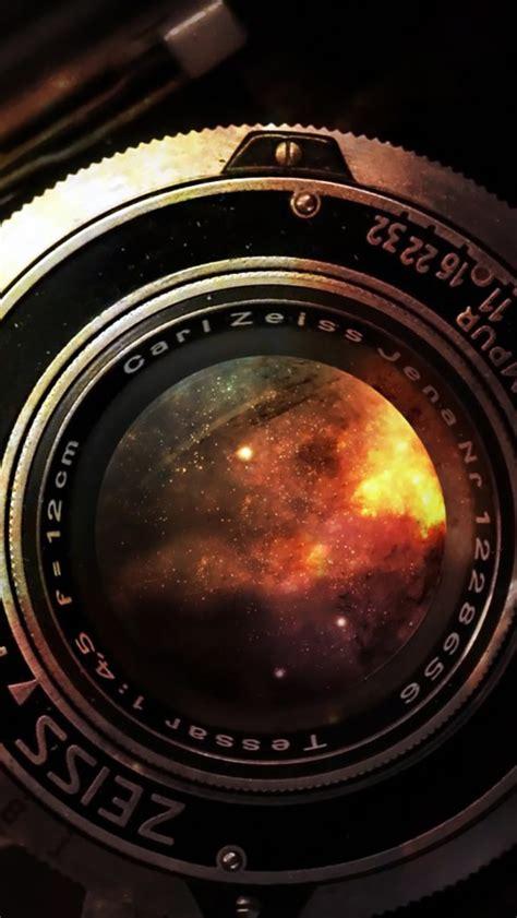 space  vintage camera lens iphone se wallpaper