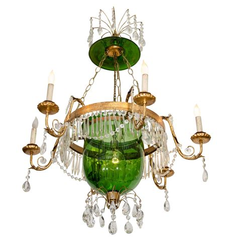 Jar Pendant Chandelier A Vintage Green Glass Bell Jar Chandelier W Hanging Crystals At 1stdibs