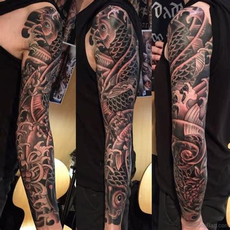 black and grey koi tattoo sleeve 66 stunning fish tattoos on full sleeve