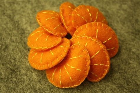 felt orange pattern yummy felt orange slices set of 8