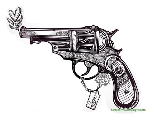 revolver tattoo design gun designs flash best cool designs