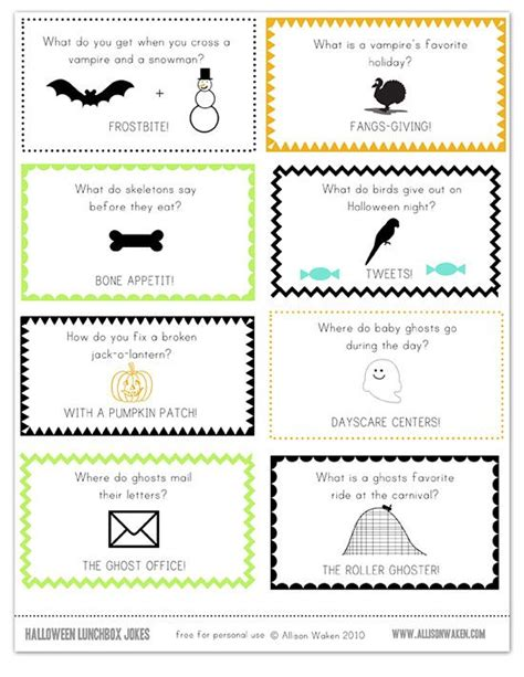 printable lunch notes jokes fun halloween lunch box notes halloween ideas pinterest