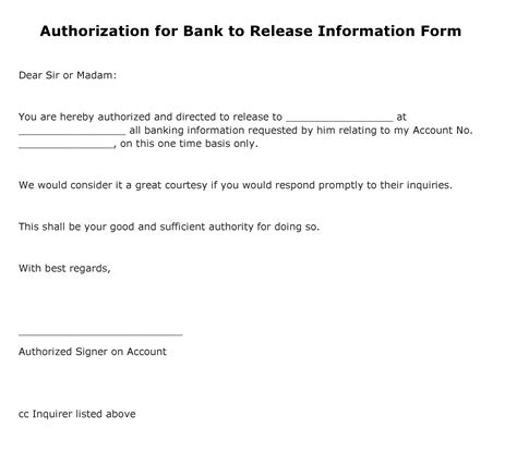 financial release form template free authorization for bank to release information form