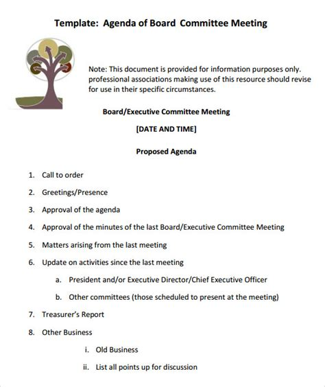Board Meeting Packet Template 12 Sle Board Meeting Agenda Templates Sle Templates