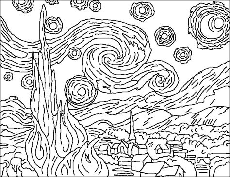 coloring pages van gogh starry starry night starry night coloring page too cool for school 6th