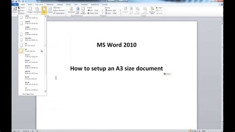 How To Make A3 Paper With A4 - ms word 2010 a3 size document setup